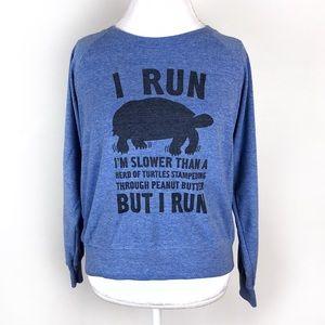 """I Run"" blue graphic American Apparel sweatshirt"